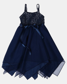 Fairy Shop Lace And Soft Tulle Hanky Dress Navy