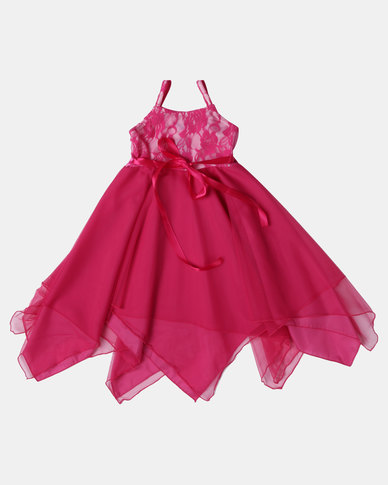 Fairy Shop Lace And Soft Tulle Hanky Dress Hot Pink