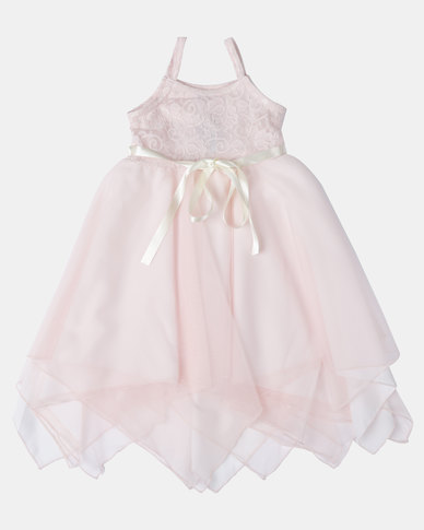 Fairy Shop Lace And Soft Tulle Hanky Dress Blush