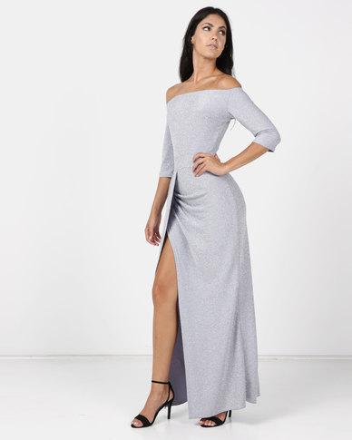 Princess Lola Boutique Alchemy Metallic Glitter Gown - Grey