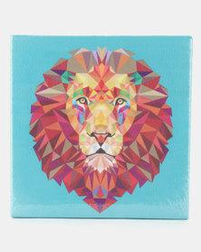 Pamper Hamper Faux Leather Wall Art Lion Blue