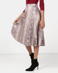Utopia Foil Print Sunray Pleated Skirt Multi