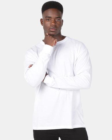 New Look Long Sleeve Oversized Cuff Tee White