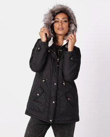 New Look Faux Fur Lined Hooded Parka Coat Black