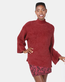New Look Fluffy Wide Sleeve Jumper Light Burgundy