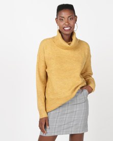 New Look Slouchy Roll Neck Jumper Mustard