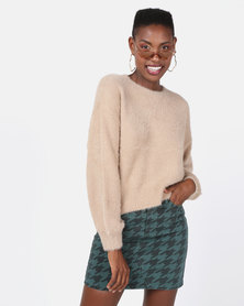 New Look Fluffy Slouchy Jumper Camel