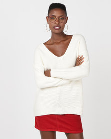 New Look Ribbed Lattice Back Jumper Off White