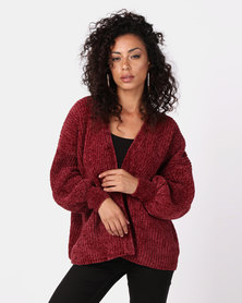 New Look Chenille Balloon Sleeve Jumper Burgundy