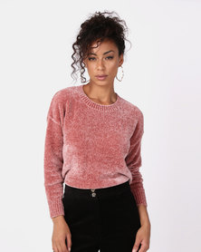 New Look Chenille Slouchy Jumper Pink