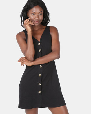 New Look Cross Hatch Button Front Pinafore Dress Black