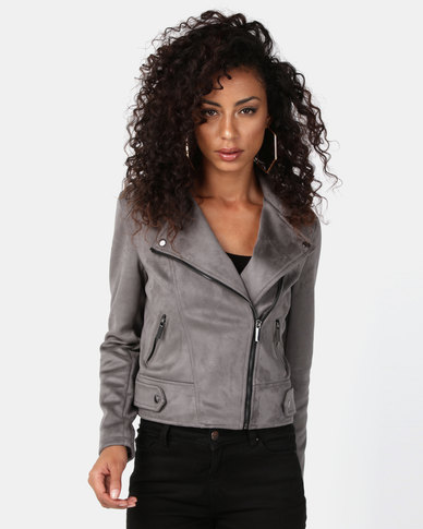 New Look Suedette Biker Jacket Dark Grey