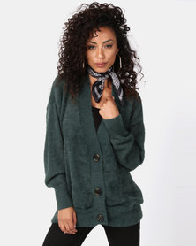 New Look Fluffy Oversized Cardigan Dark Green