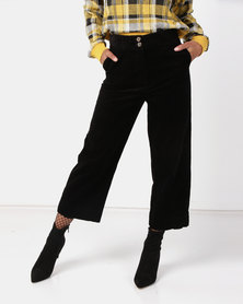 New Look Corduroy Cropped Trousers Black