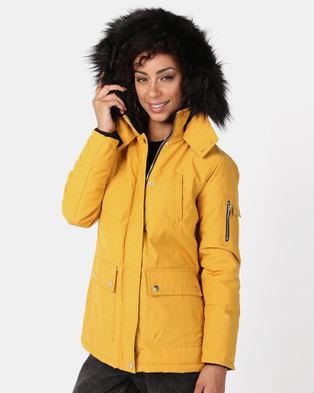 New Look Ski Style Parka Mustard
