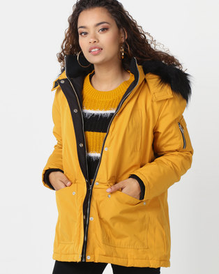 New Look Black Check Bar Back Maxi Coat Yellow