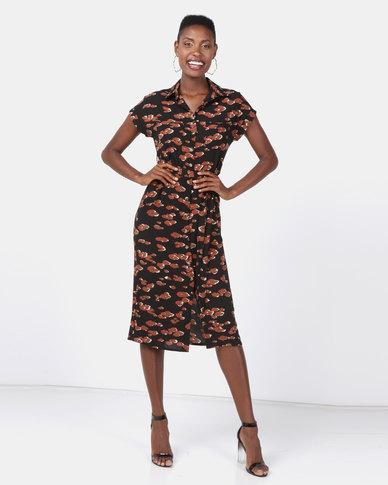 9c3dc055720 New Look Print Midi Shirt Dress Black Leopard | Zando