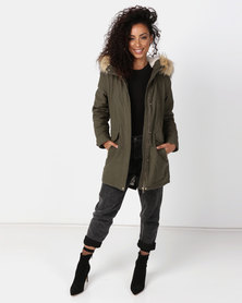 New Look Faux Fur Hooded Parka Jacket Khaki