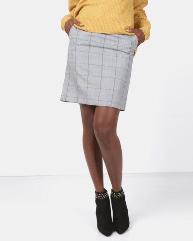 New Look Check Mini Skirt Light Grey