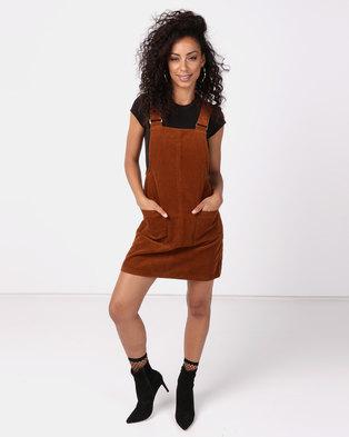 New Look Corduroy Pocket Front Pinafore Dress Rust