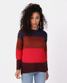 New Look Stripe Slouchy Jumper Red Colour Block