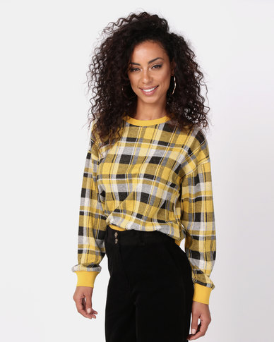 New Look Fine Knit Rib Trim Check Top Yellow
