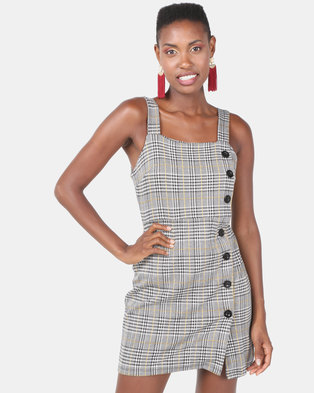 New Look Houndstooth Check Button Side Pinafore Dress Grey