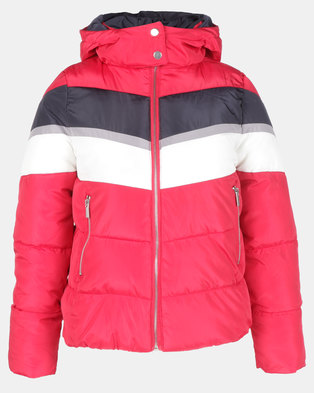 New Look Colour Block Puffer Jacket Red