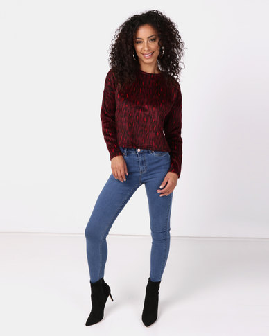 New Look Brushed Fine Knit Leopard Print Top Red