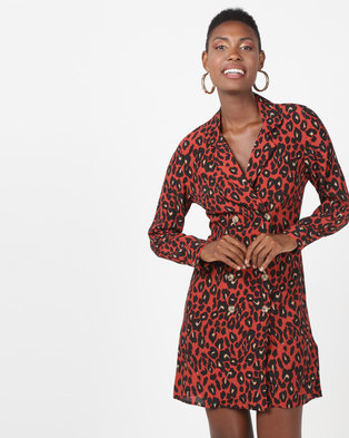 New Look Leopard Print Double Breasted Shirt Dress Orange