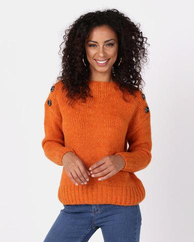 New Look Bright Button Shoulder Jumper Orange