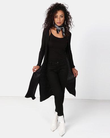 New Look Fine Knit Rib Longline Cardigan Black