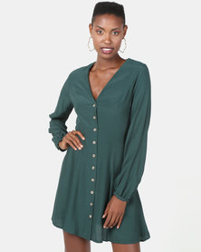 New Look Balloon Sleeve Button Front Tea Dress Dark Green