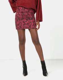 New Look Snake Print Denim Skirt Burgundy