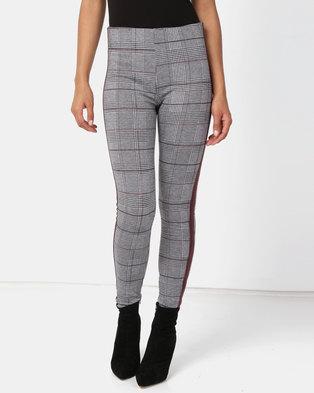New Look Check Side Stripe Leggings Grey/Burgundy