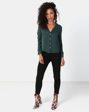 New Look Button Front Long Sleeve Shirt Dark Green