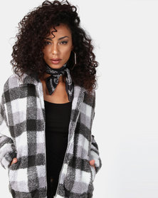 New Look Faux Teddy Fur Jacket White Check