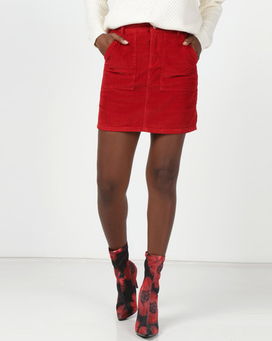 New Look Corduroy Utility Pocket Skirt Red