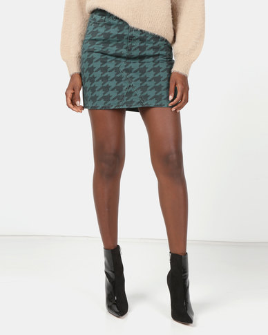 New Look Denim Mini Skirt Dark Green Houndstooth Print