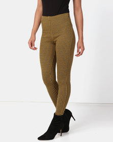 New Look Houndstooth Check Leggings Dark Mustard