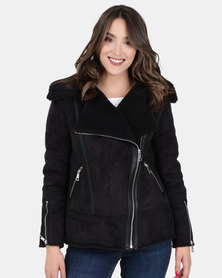 New Look Faux Shearling Biker Jacket Black