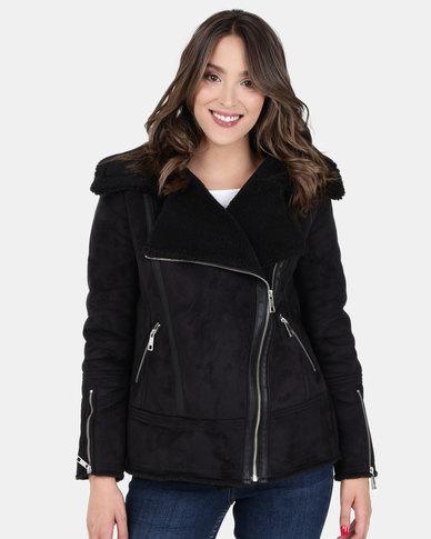 New Look Faux Shearling Biker Jacket Black