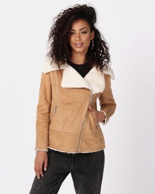 New Look Faux Shearling Biker Jacket Tan