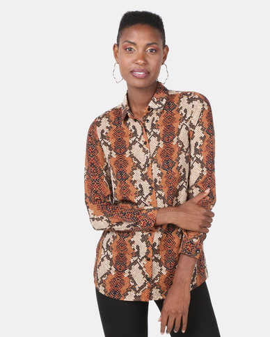 New Look Snake Print Shirt Brown