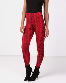 New Look Snake Print Leggings Red
