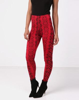 New Look Snake Print Leggings Red