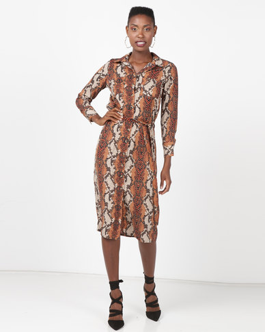 New Look Snake Print Midi Shirt Dress Brown