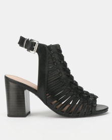 New Look Wide Fit Leather-Look Woven Block Heels Black