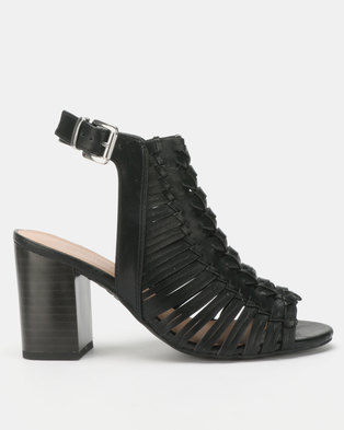 New Look Wide Fit Leather-Look Woven Block Heels Black