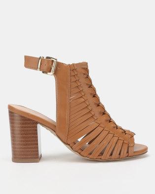 New Look Wide Fit Leather-Look Woven Block Heels Tan